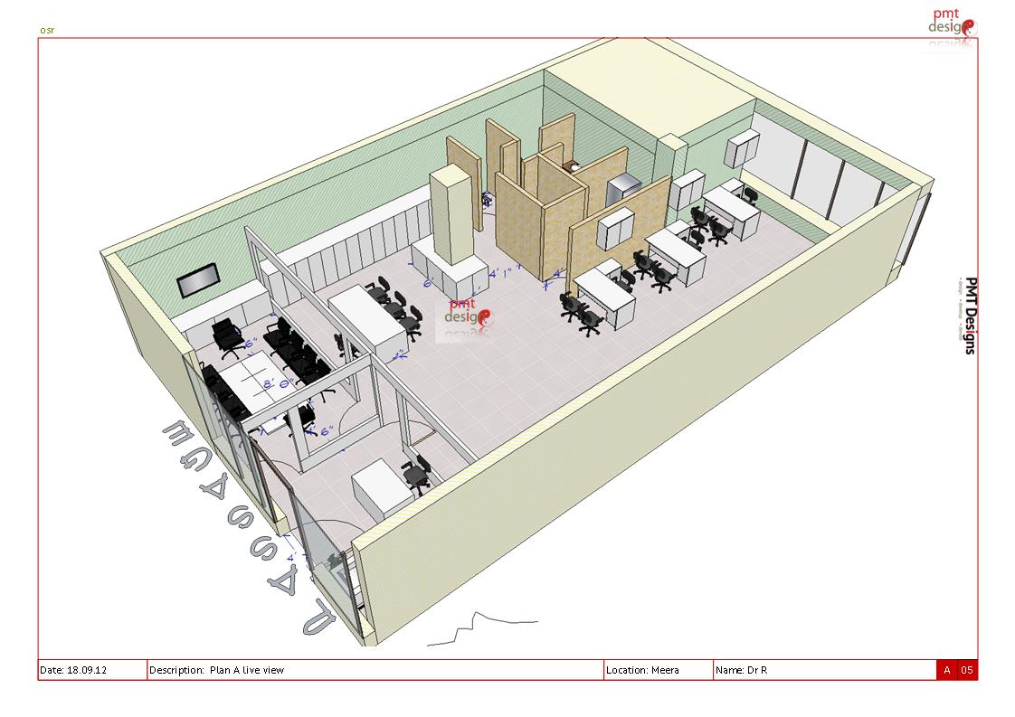 Plan a at meera 3d pmt designs blog for Office layout design 3d